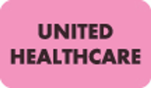"""United Healthcare"" Insurance Label -  Fl. Pink - 1-1/2"" x 7/8"" - 250/Roll"