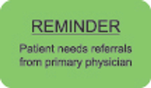 """Reminder"" Label - Fl. Green - 1 1/2"" x 7/8"" - Box of 250"