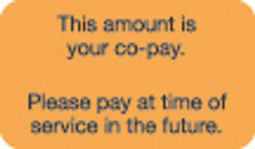 """This Amount Is Your Co-Pay. Please pay at time of service in the future."" Label - Fl. Orange - 1-1/2"" x 7/8"" - 250/Roll"