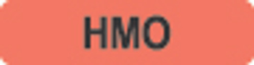 """HMO"" Label - Fl. Red - 1 1/4"" x 5/16"" - Box of 500"