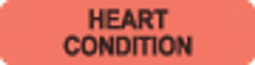 """Heart Condition"" Label - Fl. Red - 1-1/4"" x 5/16"" - 500/Box"
