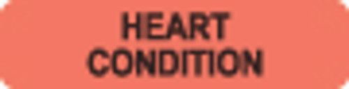"""Heart Condition"" Label - Fl. Red - 1-1/4"" x 5/16"" - 500/Box"