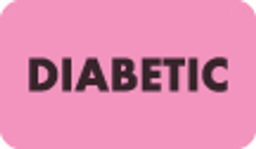 """""""Diabetic"""" Label - Fl. Pink - 1-1/2"""" x 7/8"""" - 250/Box"""