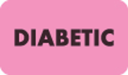 """Diabetic"" Label - Fl. Pink - 1-1/2"" x 7/8"" - 250/Box"