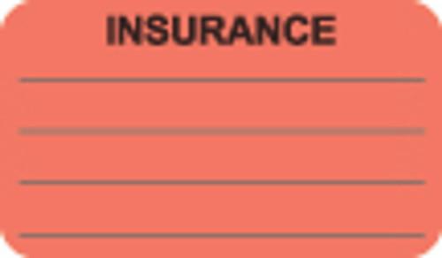 """Insurance Label"" - Fl. Red - 1 1/2"" x 7/8"" - Box of 250"