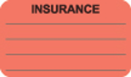 """Insurance Label"" - Fl. Red - 1 1/2"" x 7/8"" - Box of 250"