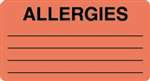 """Allergies"" Label - Fl. Red - 3-1/4"" x 1-3/4"" - 250/Box"