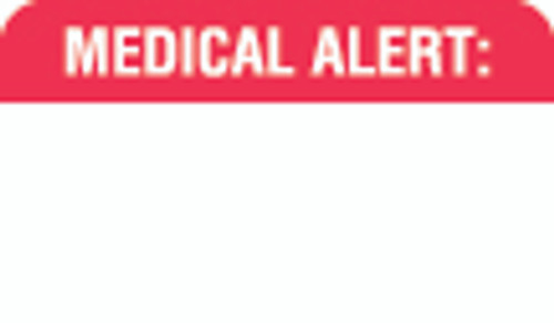 """Medical Alert:"" Label - White/Red - 1-1/2"" x 7/8"" - 250 Labels/Box"