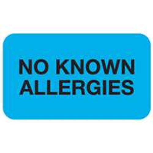 """No Known Allergies"" Label - Lt. Blue - 1-1/2"" x 7/8"" - 250/Box"