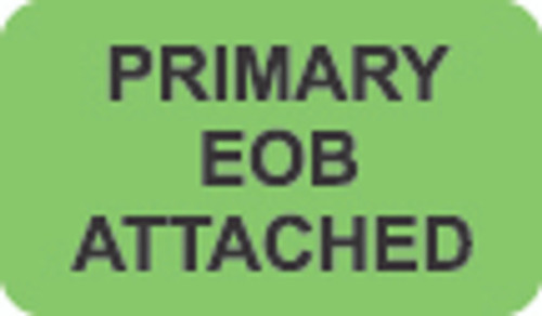 """Primary EOB Attached"" Label - Fl. Green - 1 1/2"" x 7/8"" - Box of 250"