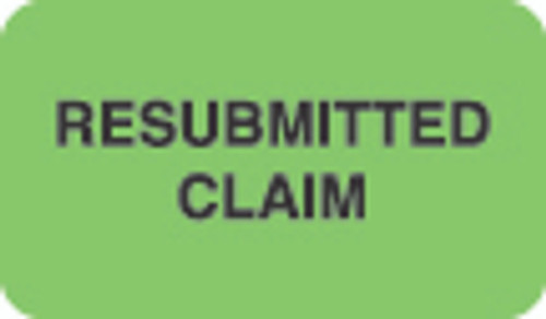 """Resubmitted Claim"" Label - Fl. Green - 1 1/2"" x 7/8"" - Box of 250"