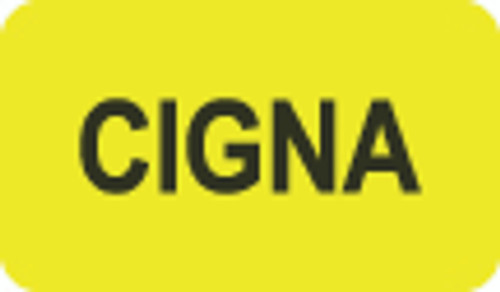 """Cigna"" Insurance Label - Fl. Yellow - 1-1/2"" x 7/8"" - 250/Roll"