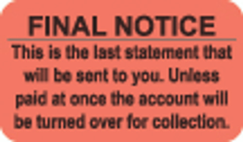 """Final Notice"" Label - Fl. Red - 1-1/2"" x 7/8"" - 250/Box"