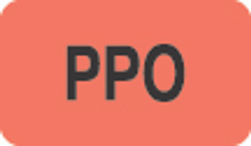 """PPO"" Label - Fl. Red - 1 1/2"" x 7/8"" - Box of 250"