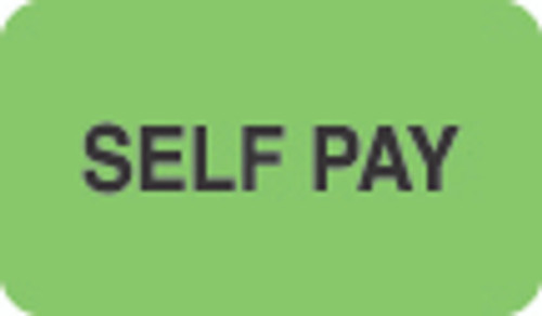 """Self Pay"" Label - Fl. Green - 1 1/2"" x 7/8"" - Box of 250"