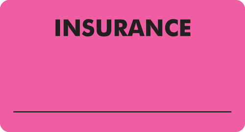 """Insurance"" Label - Fl. Pink - 3 1/4"" x 1 3/4"" - Box of 250"