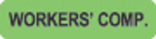 """""""Workers' Comp."""" Label - Fl. Green - 1 1/4"""" x 5/16"""" - Box of 500"""