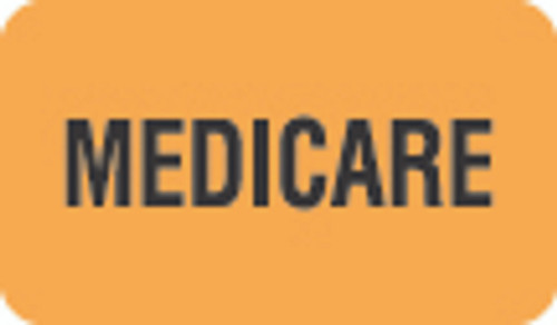 """Medicare"" Label - Fl. Orange - 1 1/2"" x 7/8"" - Box of 250"
