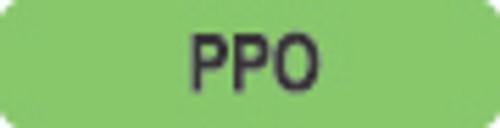 """PPO"" Label - Fl. Green/Bk  1-1/4"" x 5/16""  500/bx"