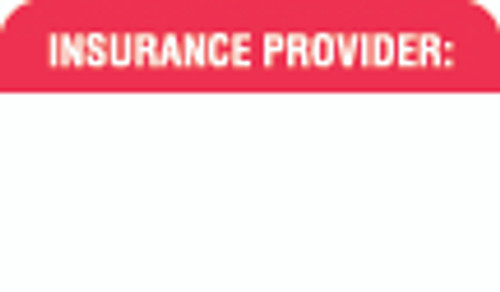 """Insurance Provider"" Label - White/Red - 1 1/2"" x 7/8"" - Box of 250"
