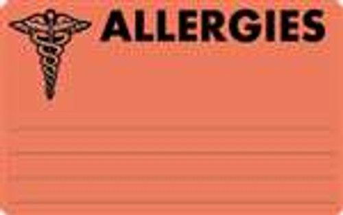 """Allergies"" Label  - Fl. Red - 4"" x 2-1/2"" - 100/Box"