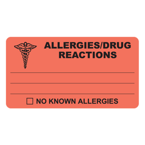 """Allergies/Drug Reactions"" Label - Fl. Red - 4"" x 2-1/2"" - 100/Box"