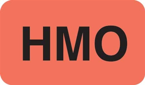 """HMO"" Label - Fl. Red - 1 1/2"" x 7/8"" - Box of 250"