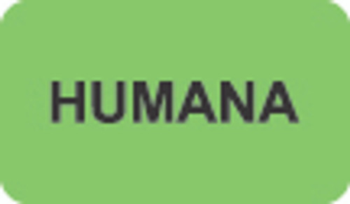 """Humana"" Insurance Label - Fl. Green - 1-1/2"" x 7/8"" - 250/Roll"