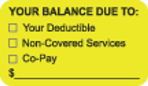"""Your Balance Due To: ..."" Label - Fl. Yellow - 1-1/2"" x 7/8"" - 250/Roll"