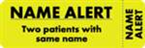 """Name Alert - Two Patients With Same Name"" Label - Fl. Yellow - 3"" x 1"" - 250 Labels/Box"