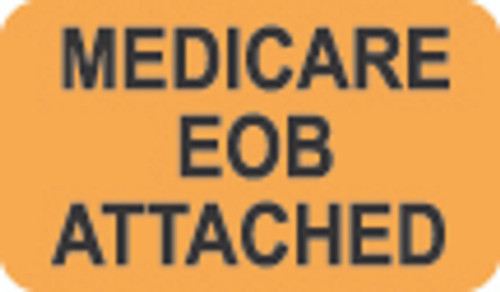 """Medical EOB Attached"" - Fl. Orange - 1 1/2"" x 7/8"" - Box of 250"