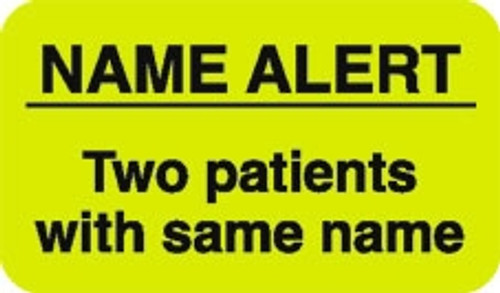 """Name Alert - Two Patients with Same Name"" Label - Fl. Yellow - 1-1/2"" x 7/8"" - 250 Labels/Box"