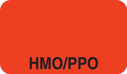 """""""HMO/PPO"""" Label - Fl. Red - 1 1/2"""" x 7/8"""" - Box of 250"""
