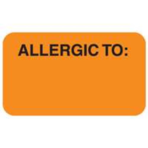"""Allergic To"" Label  - Fl. Orange - 1-1/2"" x 7/8"" - 250/Box"