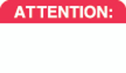 """Attention:"" Label - White/Red - 1-1/2"" x 7/8"" - 250 Labels/Box"