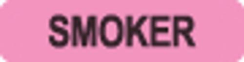 """Smoker"" Label - Fl. Pink - 1-1/4"" x 5/16"" - 500/Roll"