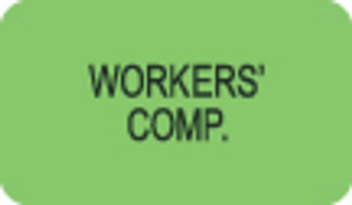 """Workers' Comp"" Label - Fl. Green - 1 1/2"" x 7/8"" - Box of 250"