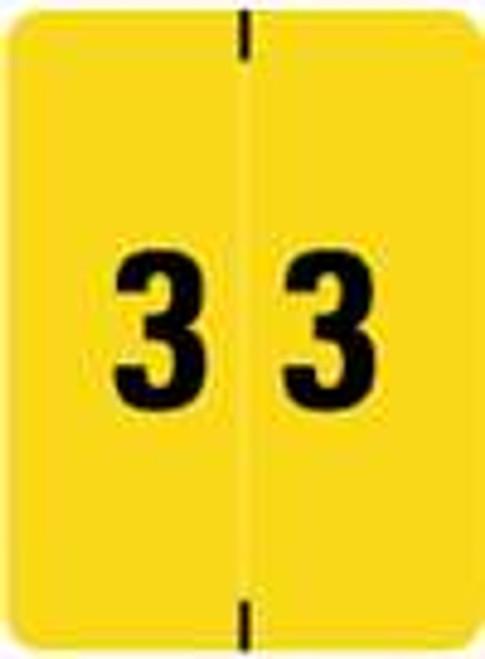 Kardex Numeric Label - KDNM Series (Rolls) - 3 - Yellow