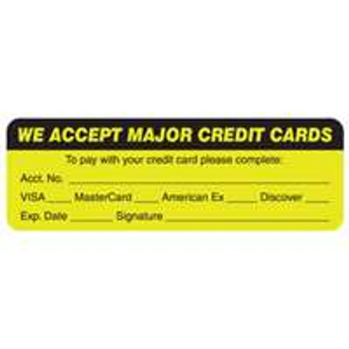 We Accept Major Credit Cards Label