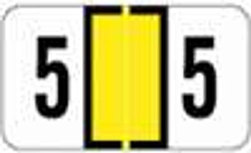 JETER Numeric Label - 2600 Series (Rolls) - 5 - Yellow