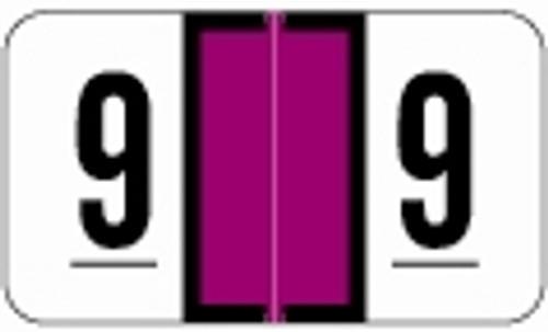 JETER Numeric Label - 0300 Series (Rolls) - 9 - Purple