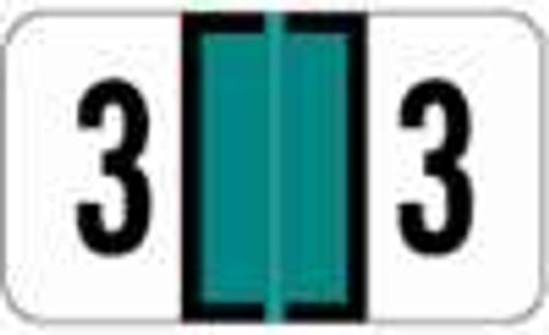 JETER Numeric Label - 0300 Series (Rolls) - 3 - Lt. Green