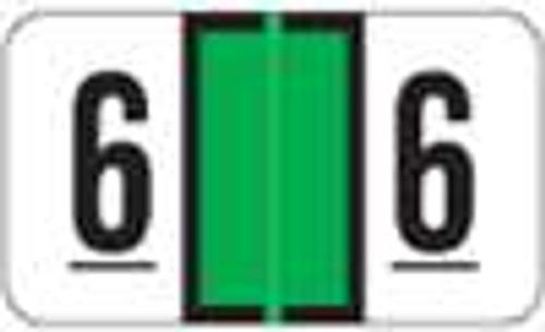JETER Numeric Label - 7300 Series (Rolls) - 6 - Lt. Green