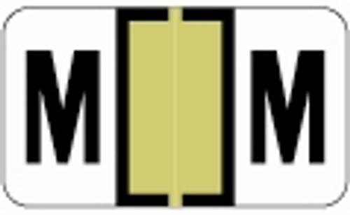 JETER Alphabetic Labels - 0200 Series (Rolls) - M - Gold