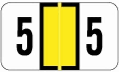 JETER Numeric Label - 0300 Series (Rolls) - 5 - Yellow