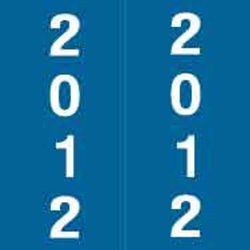 International Filing Yearband Label (Rolls) - 2012 - Dk. Blue - Unlaminated