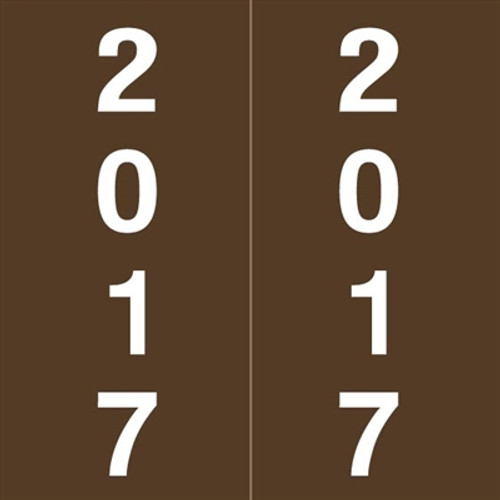 IFC Yearband Label (Rolls of 500) - 2017 - Brown - IFYM Series - Laminated