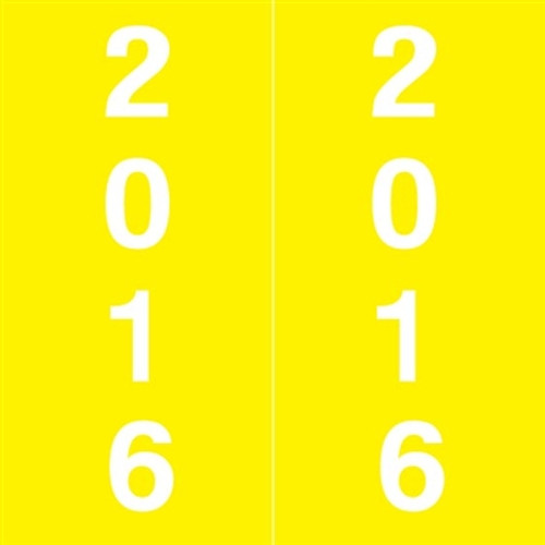 IFC Yearband Label (Rolls of 500) - 2016 - Yellow - IFYM Series - Laminated
