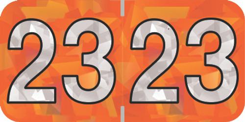 Holographic Yearband Label (Rolls) 500 - 2023 - Orange - HOYM Series - Polylaminated