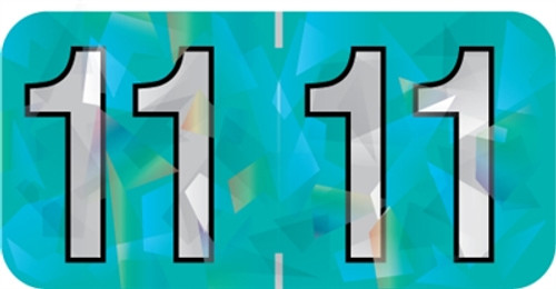 Holographic Yearband Label (Rolls) 500 - 2011 - Aqua - HAYM Series - Polylaminated
